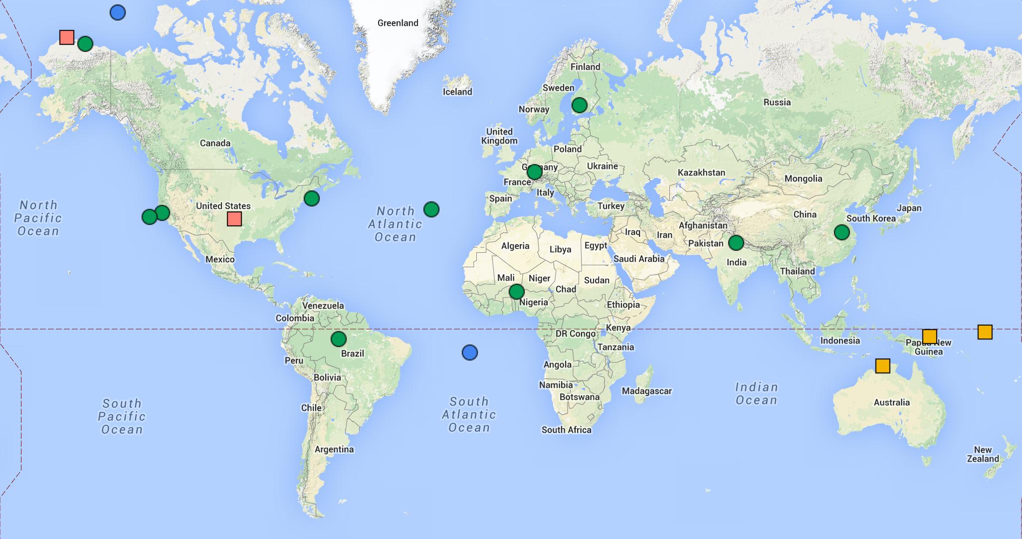 Worldwide AERI Deployments