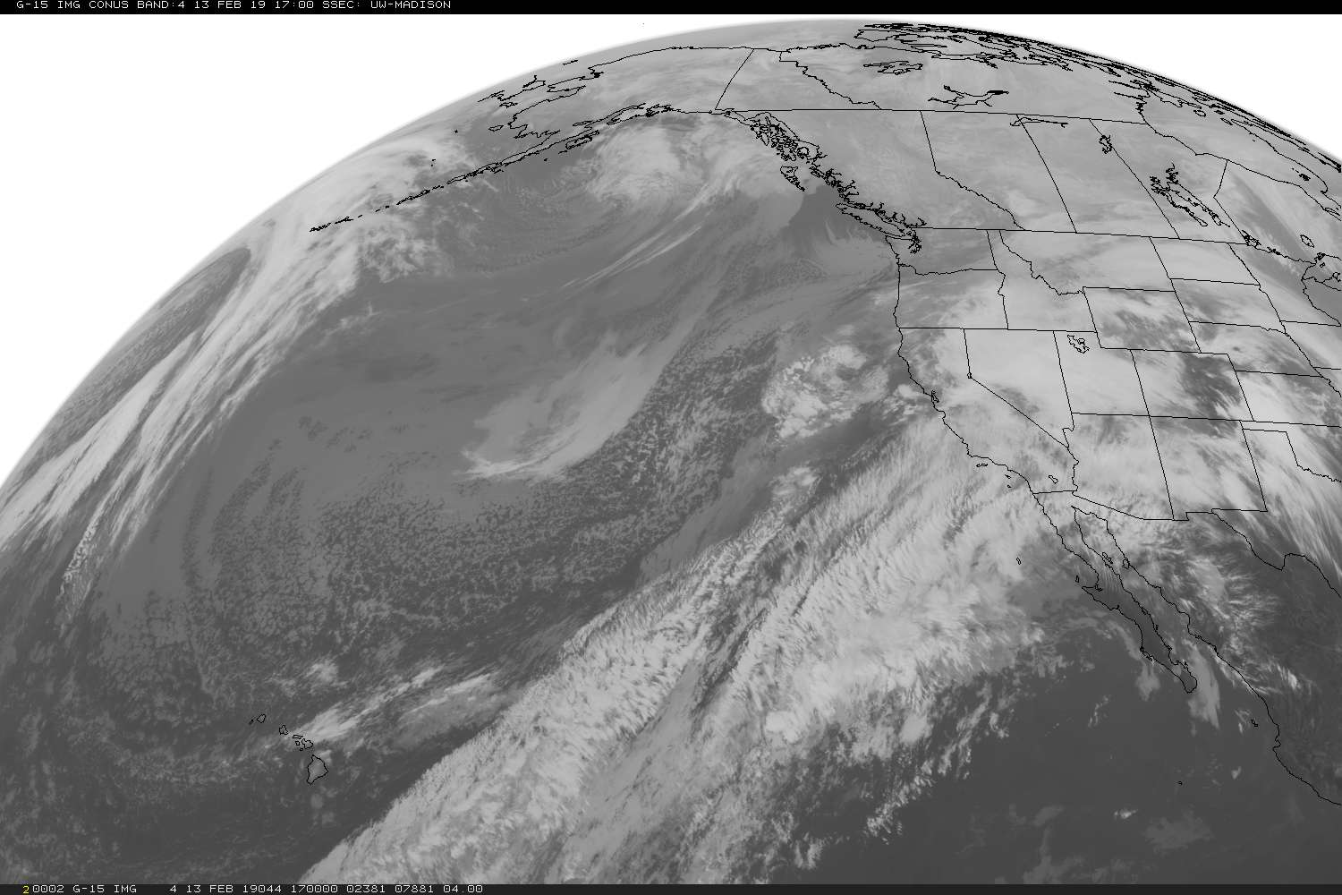 Most recent Geostationary Operational Environmental Satellite (GOES) image of the Western United States