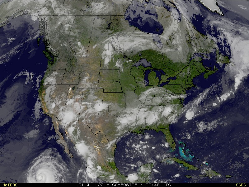 RealTime US Composite Satellite Image SSEC - Satellite map us