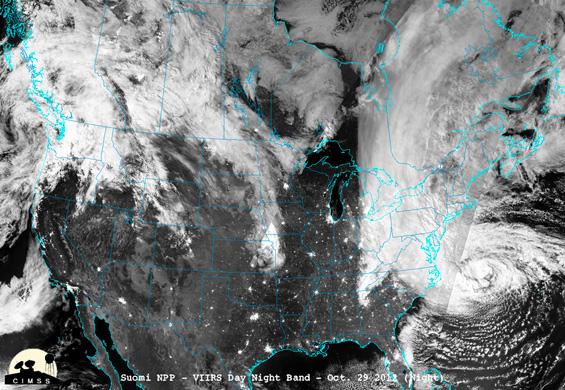 VVIRS night image of Sandy