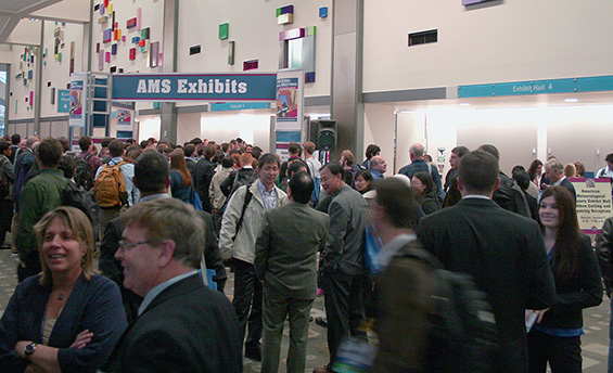 Crowds lined up early for the 5:30 pm, Monday 07 January, opening of the Exhibit Hall.
