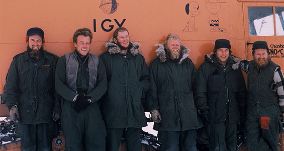 Dr. Charles Bentley (far left) and some of the Antarctic crew.