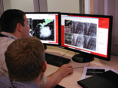 Chris Leonardi (Weather Forecast Office, Charleston, WV) looking at the CTC and convective initiation data.