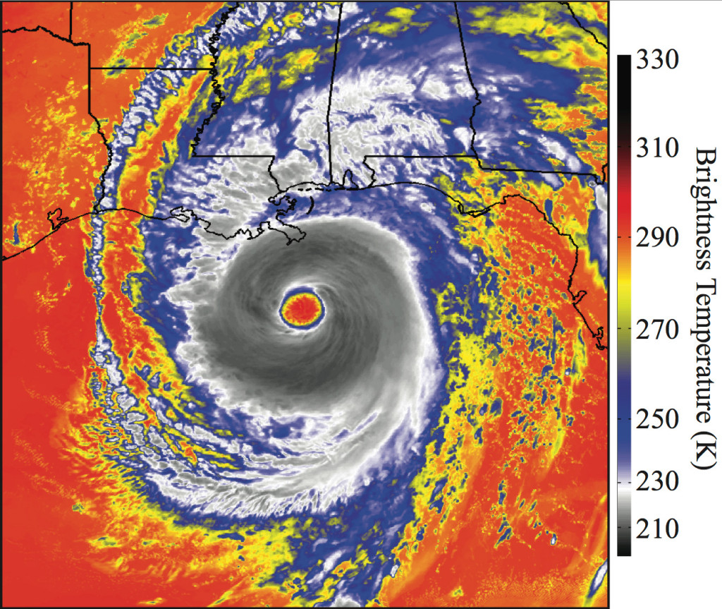 Synthetic satellite imagery of Hurricane Katrina as depicted by ABI 8.5 μm brightness temperatures, computed using data from a high- resolution WRF model simulation at 00 UTC on 29 August 2005. Credit: Jason Otkin.