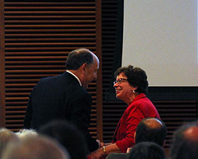UW-Madison Chancellor Rebecca Blank greets Dr. Uccellini.