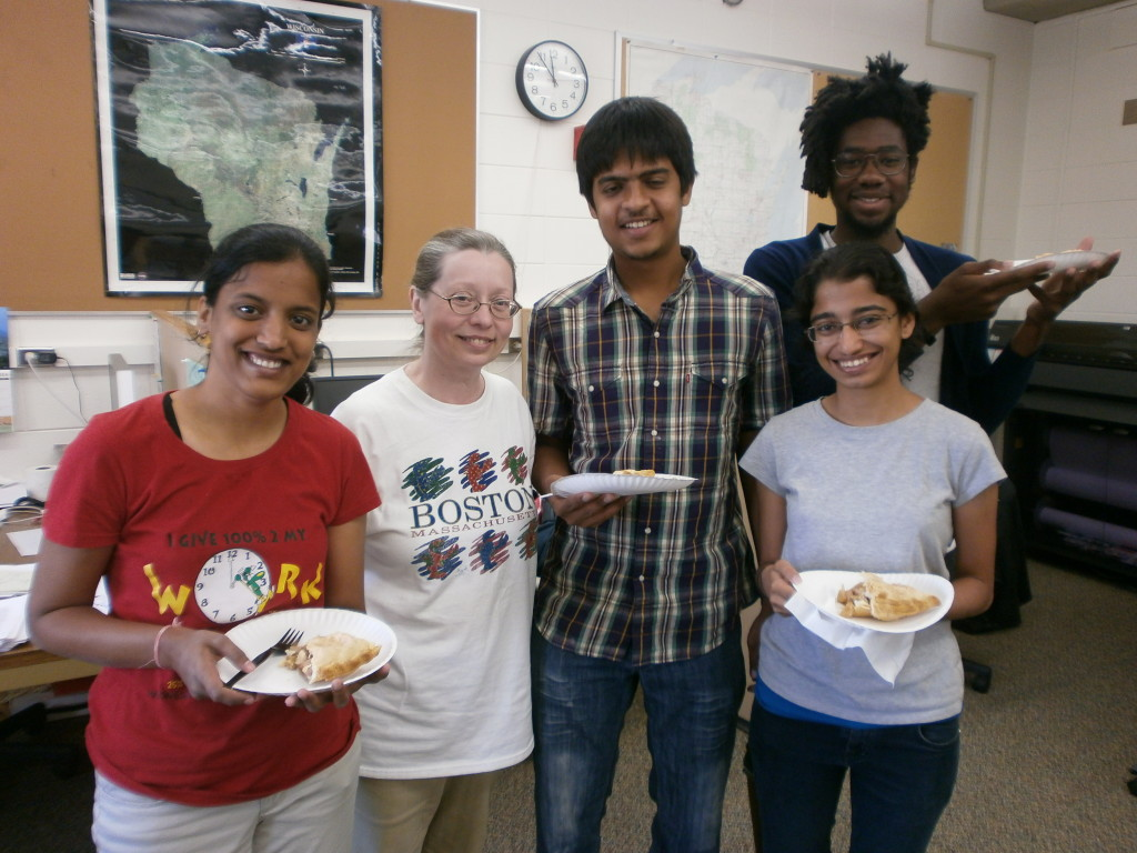 From left to right, Bose scholar Prachi Bedekar, SSEC scientist and mentor Rose Pertzborn, Bose scholar Mihir Kulkarni, Bose scholar Neha Joshi, and 12th floor researcher Eric Smith.
