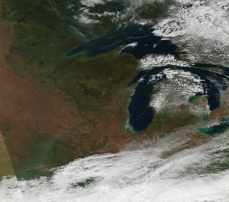 This image, showing a satellite's view of the Great Lakes region, was created at SSEC using data collected by Suomi NPP VIIRS on Oct. 11, 2014.
