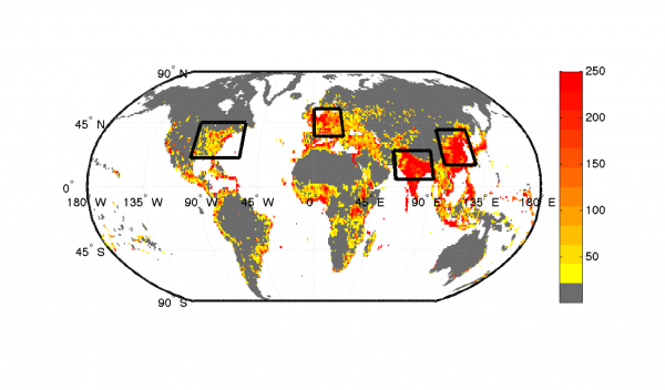 This figure, from Roman's 2014 Journal of Climate paper, shows the population density (population per square kilometers) for 2015 with regional boundaries. She chose to focus on regions with dense populations because of their potential for severe societal impacts. Image Credit: Jacola Roman.