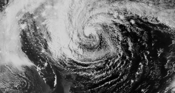 Day/Night image of Hurricane Sandy in October 2012. Credit: CIMSS.