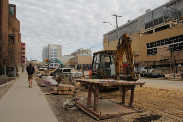 Construction on Charter Street, looking north. Credit: Bill Bellon, SSEC.
