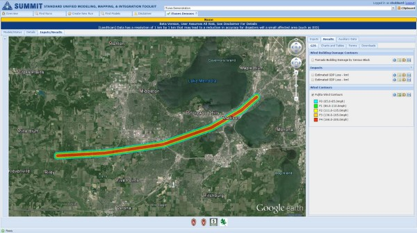 A new tornado model allows users to interactively create the tornado path using an interface based on Google Earth. The model then calculates the damages and losses of the simulated tornado. Credit: Shane Hubbard, CIMSS.