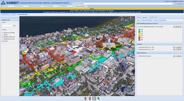 Tornado model showing tornado path using Google Earth.