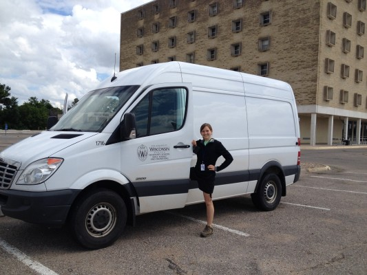 UW-Madison graduate student Michelle Feltz gets ready to drive a university vehicle used for transporting additional instrumentation and equipment for the SSEC Portable Atmospheric Research Center (SPARC). Credit: Sarah Witman, SSEC.