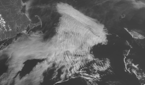 Suomi NPP VIIRS Visible (0.65 µm) imagery of an atmospheric bore over New England on May 8, 2015. Credit: CIMSS.