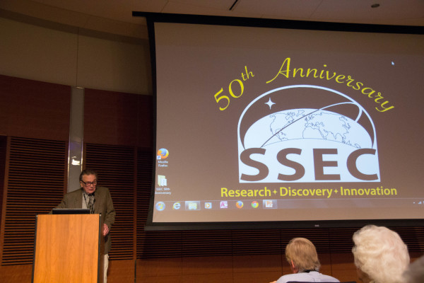 Don Johnson speaking at the Space Science and Engineering Center (SSEC) 50th anniversary program in September 2015. Credit: Bill Bellon, SSEC.