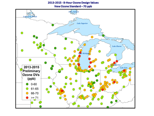 Great Lakes ozone values from 2013-1015