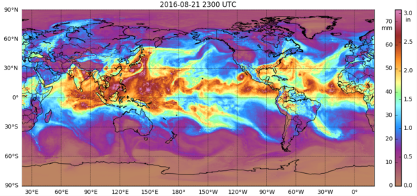"Global ""morphed composite"" satellite imagery of total precipitable water over both land and sea from August 21-22, created using the newly updated version of MIMIC-TPW. Click for animation."